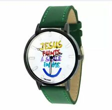 DOOKA KNUODE Jesus Paints A Smile In Me Unisex Leather Strap Quartz Watch (Green