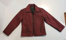EXPRESS Women Shiny QUILTED Zipper Jacket Small Lined Wine Burgundy Purple