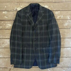 "Boggi Milano Blazer Jacket Wool Cashmere  EU 46 36"" Check Tweed 3 Button"