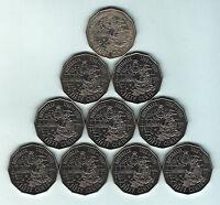 Australia. 1988  Bicentenary, Tall Ships - 50 Cents x10 Coins.. UNC/BU - Ex Roll