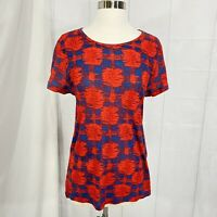Marc by Marc Jacobs Women's M Top Red Blue Print Semi Sheer Cotton #C