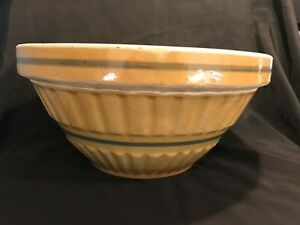 VERY RARE LARGE 12 INCH BLUE BANDED BOWL YELLOW WARE Antique Vintage