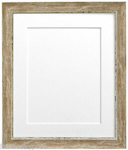 Nordic Wood Picture Photo Frames with White Black Ivory Blue Pink or Grey Mounts