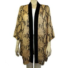 BROWN SILK BLEND SHORT SLEEVE KIMONO COVER UP JACKET SIze L