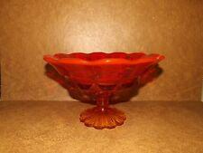 FENTON VALENCIA AMBERINA ORANGE RED PEDESTAL OPEN CANDY DISH W/ SCALLOPED RIM