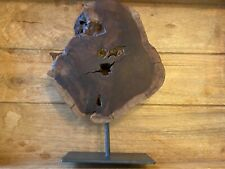 DECORATIVE IRONWOOD SLAB CUT CROSS SECTION WITH METAL STAND