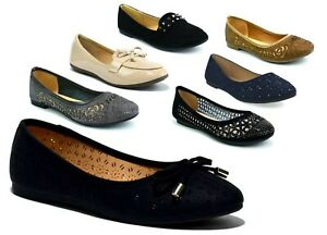 Ladies Girls New Flat Slip On Front Bow Ballerina Dolly Ballet Shoes UK Size 3-8