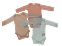 3er Set Baby Bio Baumwolle Langarm Body Strampler 62 - 68 74 - 80 Rosa Weiß Lang