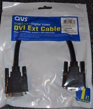 DVI EXT Cable QVS Dual Link Digital Video Male to Female 1 ft dvi-d m/f black