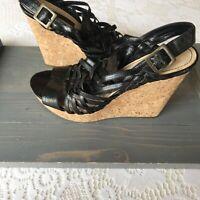 Enzo Angiolini Women's Black Leather Cork Wedge Platform Strap Sandals Size 9
