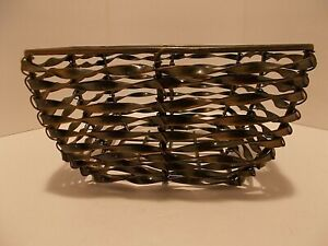 Metal Wire Basket Farmhouse Rustic Distressed Black Copper Vintage 7 in. Square