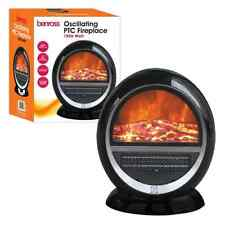 PTC Oscillating Fireplace Heater with Flame Effect - Black - 750w/1500w