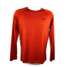 Under Armour Mens HeatGear T Shirt Size Small Orange Longsleeved Base Layer
