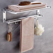 Bathroom 2-Tiers Towel Rack Holder Wall Mount Rail Hotel Toilet Shower Organizer