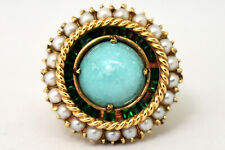 Vintage 14K Solid Yellow Gold, Natural Turquoise, Pearl and Emerald Ring
