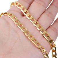 "Men's Stainless Steel 18K Gold Filled Curb Cuban Chain Necklace Jewelry 24""New"