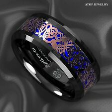8Mm ATOP Men Black Blue Tungsten Ring Rose Gold Celtic Dragon Wedding Band