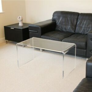 Clear Acrylic Plastic Coffee Table Hygienic Easy Clean Living Room Table