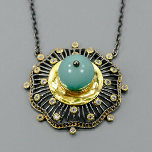 Turquoise Necklace 925 Sterling Silver Vintage Length 18.5/N03788