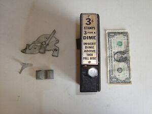 Vtg 3 cent Cast Iron 10 Cent Coin Operated Stamp Vending Machine 30's Schermach