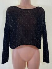 TOPSHOP vintage black beaded embellished crochet knit cropped blouse size M 12