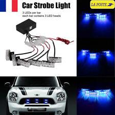 18LED Lumière Flash Stroboscope Strobe Clignotant Bleu Alerte Voiture Auto Lampe