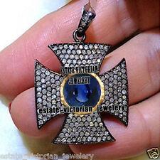 Silver Victorian Cross Pendant Jewelry 3.47cts Rose Cut Diamond Sapphire Studded