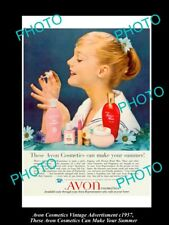 LARGE HISTORIC ADVERTISING OF AVON COSMETICS 1957, AVON MAKES YOUR SUMMER