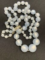 """Ladies Vintage 1950's Pale Blue Moon Glow  Beaded Necklace Sterling Clasp 20"""""""