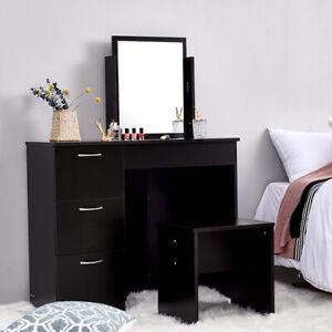 Modern Corner Dressing Table Stool Set w/Mirror & 3 Drawers Makeup Desk Dresser