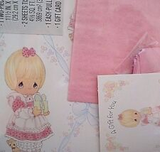 Vintage Hallmark Gift Wrap Precious Moments Set Bow Box Card Scrapbooking Crafts