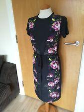 Ladies OASIS Dress Size XS 8 10 Black Pink Floral Shift Smart Party Evening