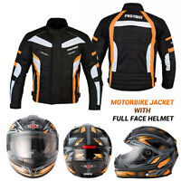 Motorbike Motorcycle Scooter Full Face Helmet Racing Waterproof Jacket Textile