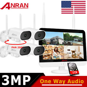 """ANRAN 3MP Wireless Security System CCTV Outdoor Camera 12"""" Monitor 8CH NVR 1TB"""