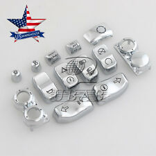13pc Chrome Hand Control Switch Housing Button Cap For Harley FLHT FLHX 14-17 US