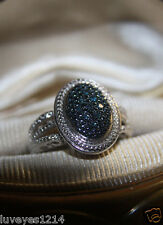 Ross Simons Sterling silver 925 pave Fancy color Blue diamond cluster ring