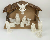 Vintage Provo Craft Unpainted Resin Nativity Set 12 Rustic Wood Stable