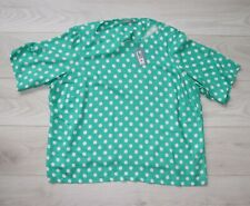 NEW EX M/&S GREEN BLUE BLACK /& WHITE ABSTRACT SPOT COTTON TOP SIZE 10-22