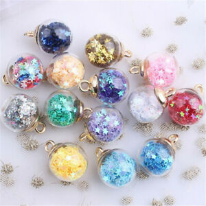 20Pcs Round Transparent Glass Ball Confetti Making Pendants Charms DIY Jewelry