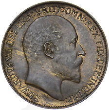 More details for 1908 penny - edward vii british bronze coin - very nice