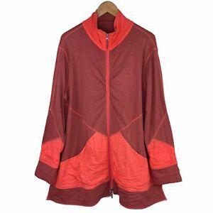 Neon Buddha Women's 1X Coral Long Zip Jacket Long Sleeve Cotton Spandex Blend