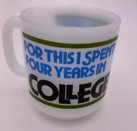Vintage Glasbake College Coffee Mug Cup White Milk Glass