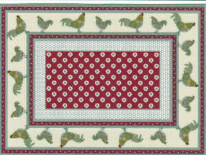 """Dollhouse Miniature Country Rooster Accent Rug  5 1/2"""" x 4"""" RG165"""