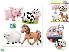 FARM ANIMALS wall stickers 5pc w/glitter 3D nursery decor baby pig cow pony lamb