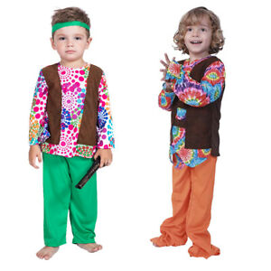 Kids Boys Hippes 60s 70s Love and Peace Halloween Party Fancy Dress