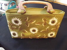 SILK WOODEN HANDLED PURSE HANDBAG CHARTREUSE EMBROIDERED BEADED DAISIES