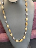 Vintage Signed Two Sisters Faux White Grey Pearl Necklace Beaded Gold Tone 26""