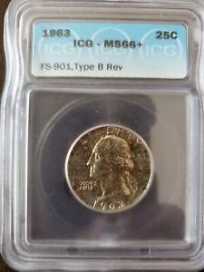 "1963 ""Type B Reverse"" Washington Quarter  ICG MS66+ (Valued at $600)"