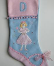 Ballerina Christmas Stocking Personalized Letter D Pink Blue Dancer