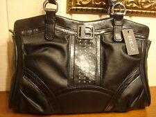 NWT GUESS ASTEROID BLACK W/ STUDS TOTE HANDBAG 100% AUTHENTIC